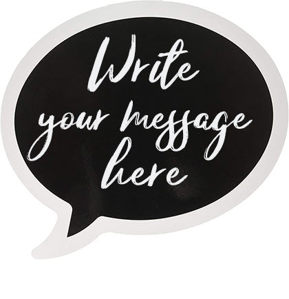Create a fun space for the guests to take photos with a backdrop and photo props. This Thought Bubble Photo Sign is perfect for guests to write out their own thoughts and messages. The sign can be used using white or metallic dry erase makers (not included) to write out the message. Then wipe it clean for the next guest to use!