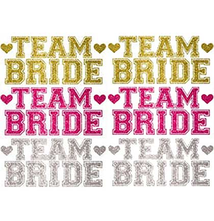 These temporary body jewelry make the perfect bachelorette party accessory for all the guests. These body jewelry say Team Bride accented with hearts in a fun gold, silver and hot pink glitter graphic. A fun party favor or prop for Bachelorette Party photos!