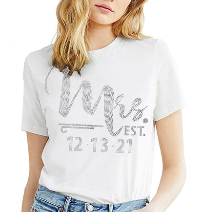 Foxy Mrs. Custom Wedding Date Rhinestone T-Shirt