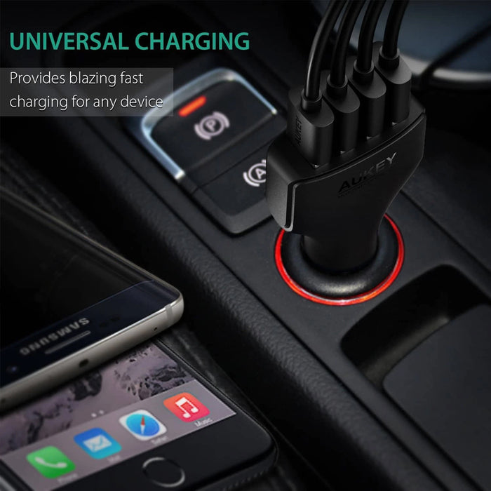 AUKEY CC-T9 4 Port Car Charger with Quick Charge 3.0