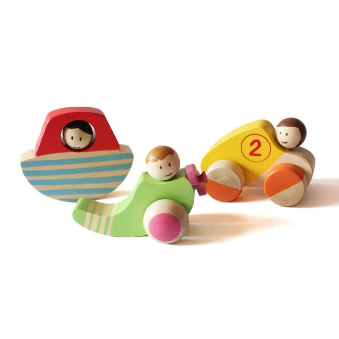 Wooden Vehicle Set for Kids