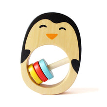 Load image into Gallery viewer, Natural Wooden Penguin Rattle for babies.