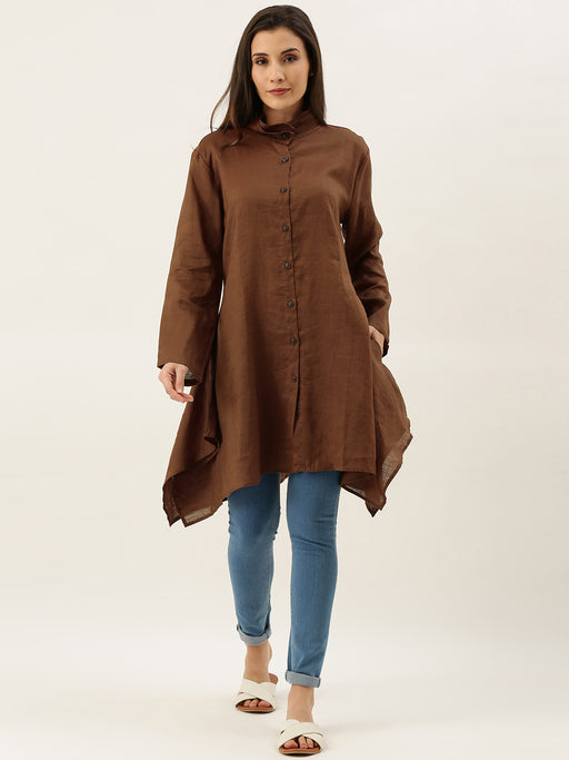 Brown Solid Asymmetric Flared Tunic