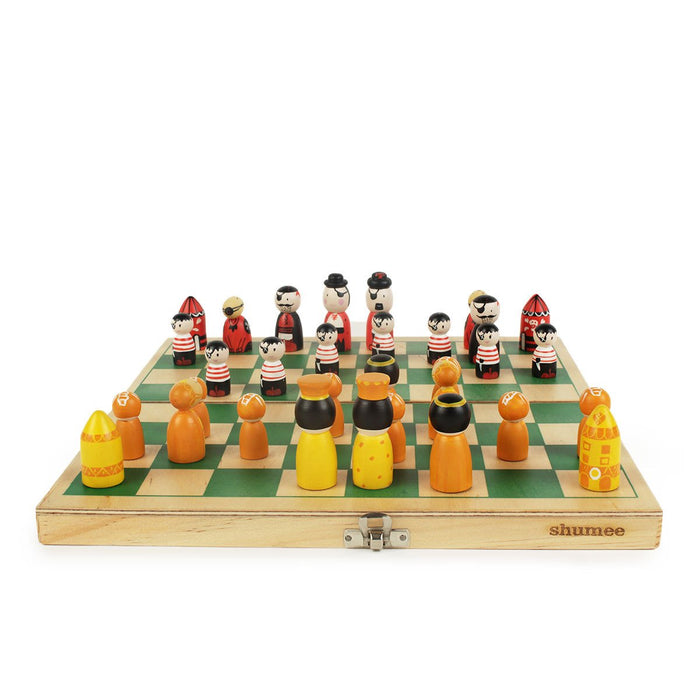Pirates vs. Royals - Wooden chess set for kids.