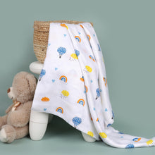 Load image into Gallery viewer, Blue Rainbows Bamboo Swaddle