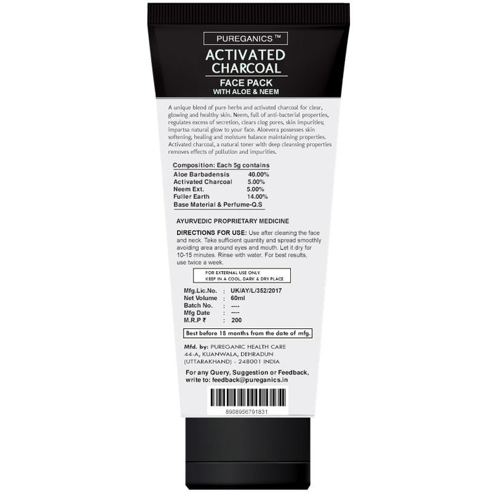 Activated Charcoal Face Pack - 60ml