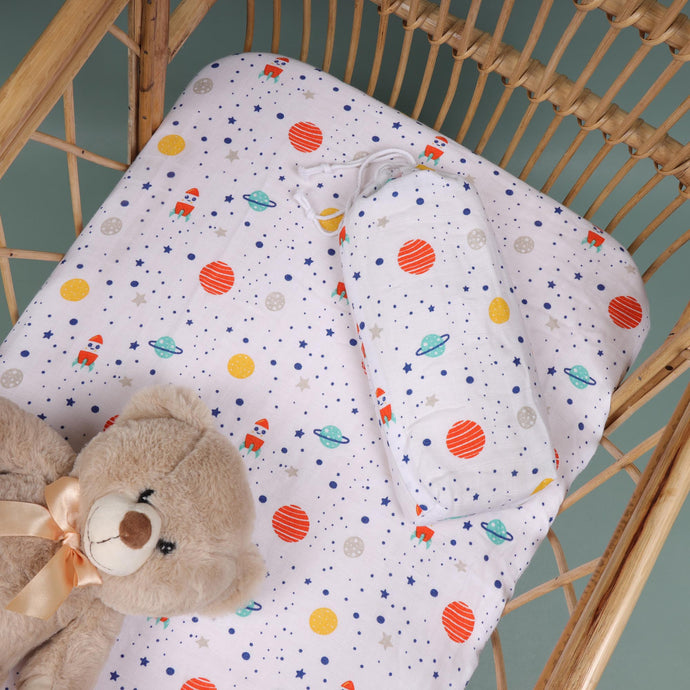 Space Explorer Organic Crib Sheet