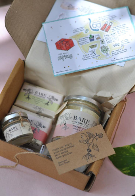 An earth-friendly hamper consisting of spa bars, lip balm and a body scrub.