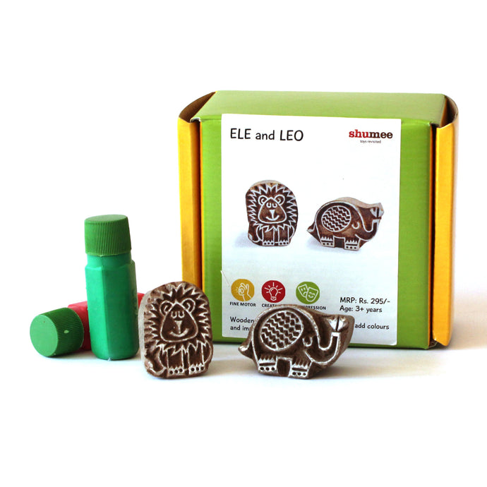 Ele & Leo Wooden Stamp Set for Kids