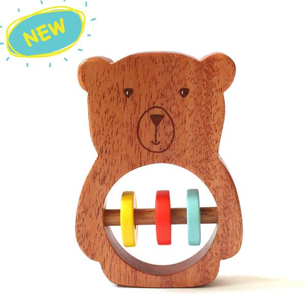 Natural Wooden Bear Rattle for babies