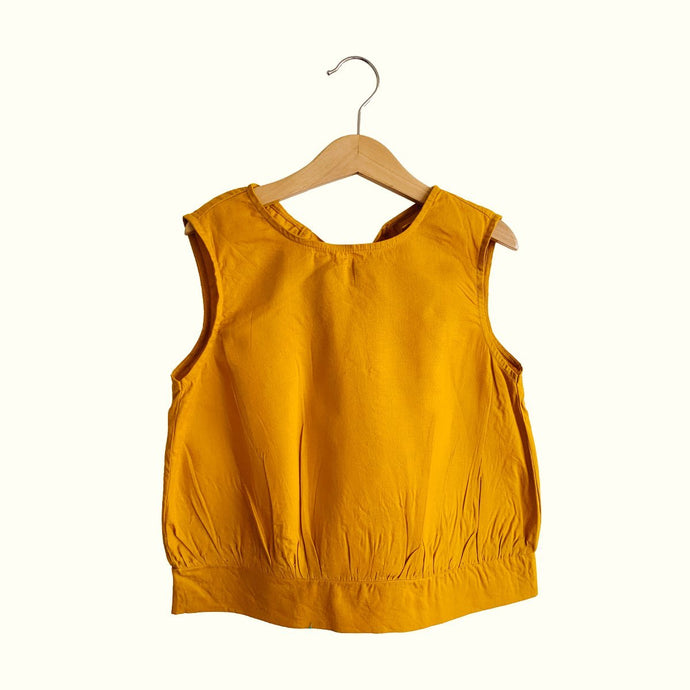 Emma Open Back Blouse  - Mustard