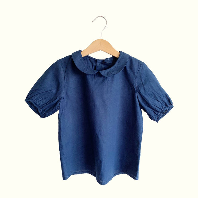 Sophia Button-Back Collar Blouse  - Navy
