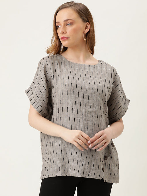 Boxy Top with Diagonal Button Panel