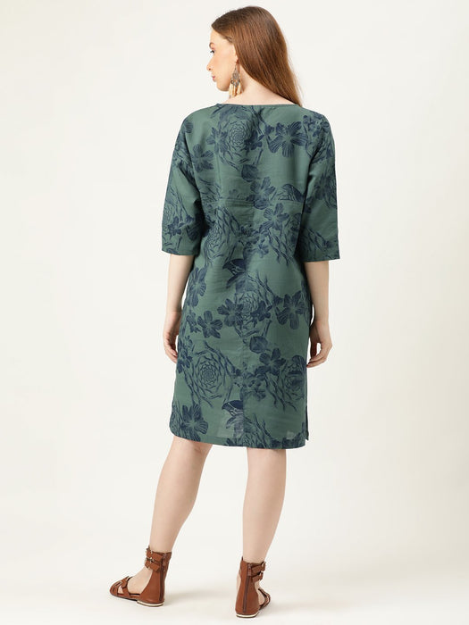 Forest Print Comfort Shift Dress