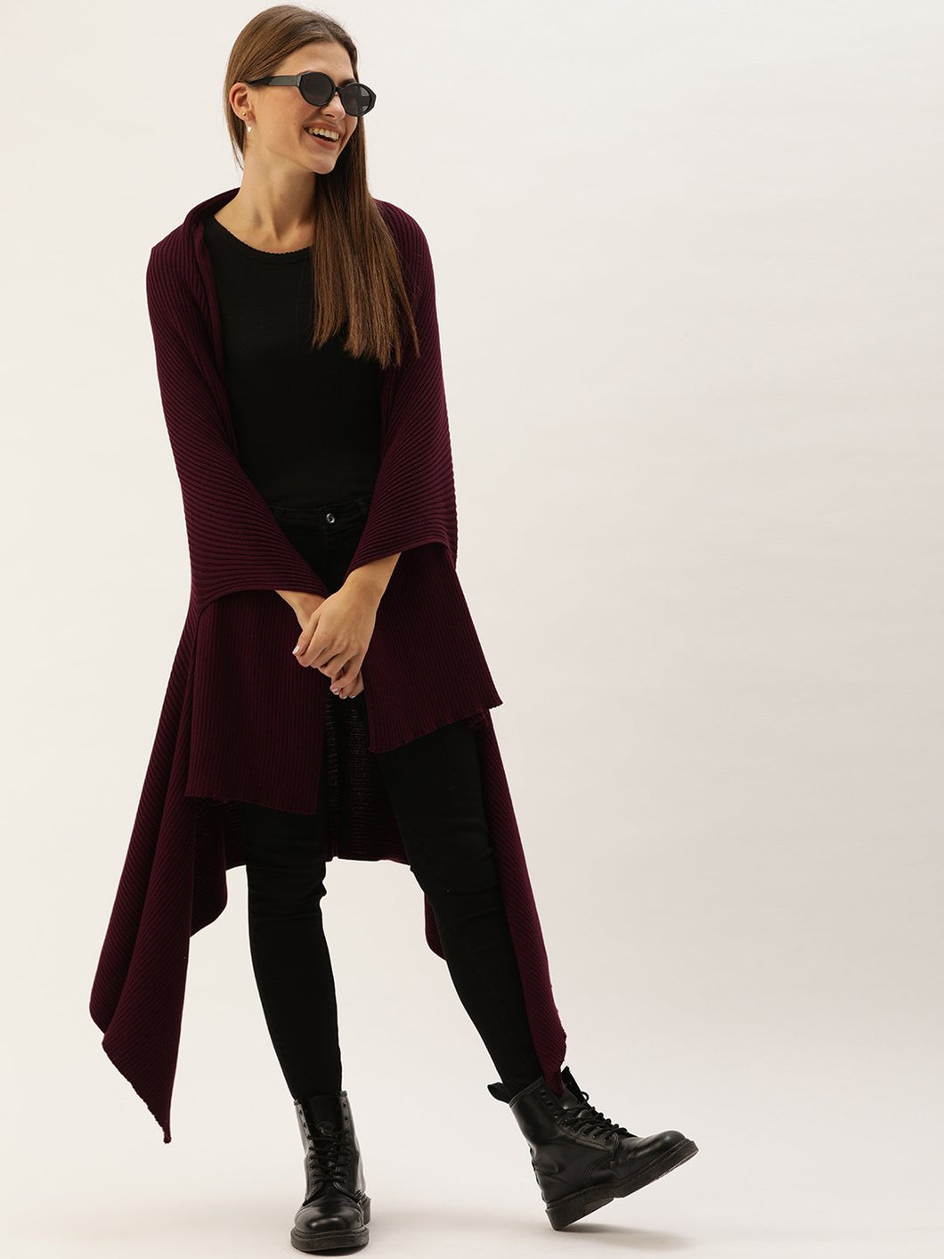 Maroon Multi-way Cape Poncho