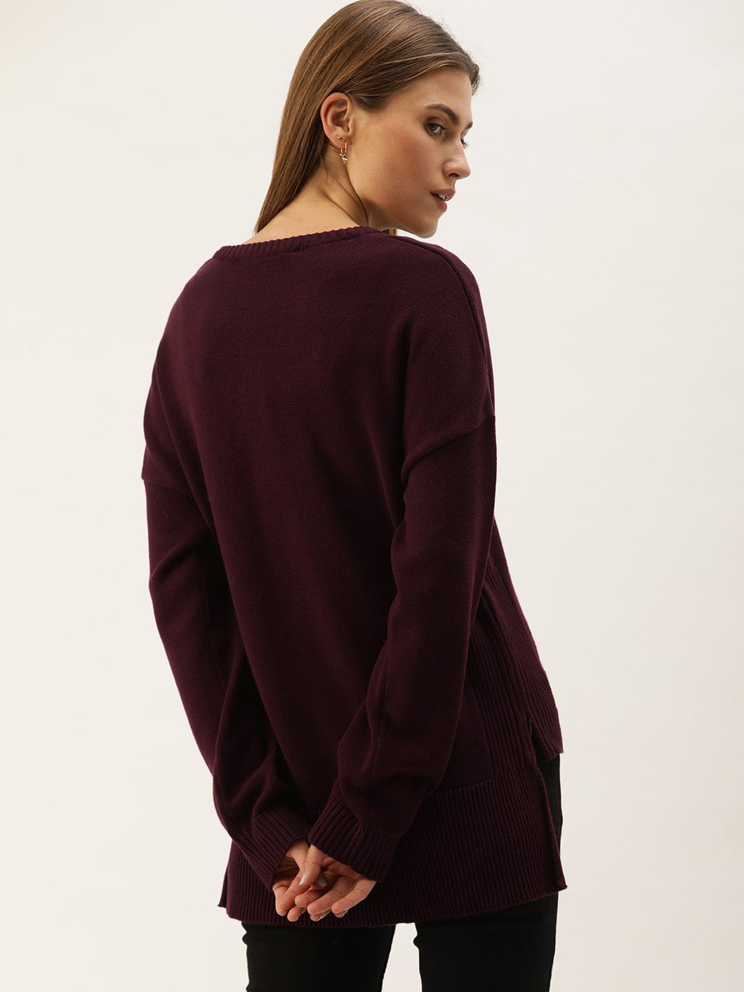 Maroon Round Neck Jumper