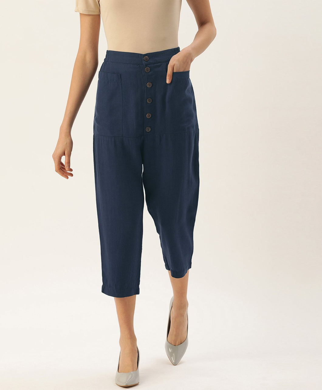 Navy Blue High Waist Casual Pants