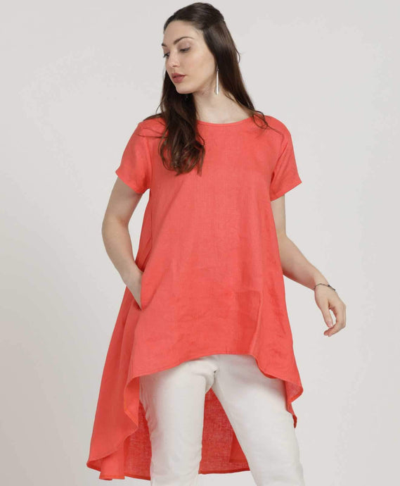 Coral Flared High-Low Tunic
