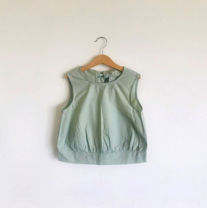 Emma Open Back Blouse  - Green Grey