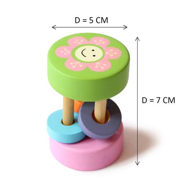 Natural Wooden Rattle for Babies - Sunny
