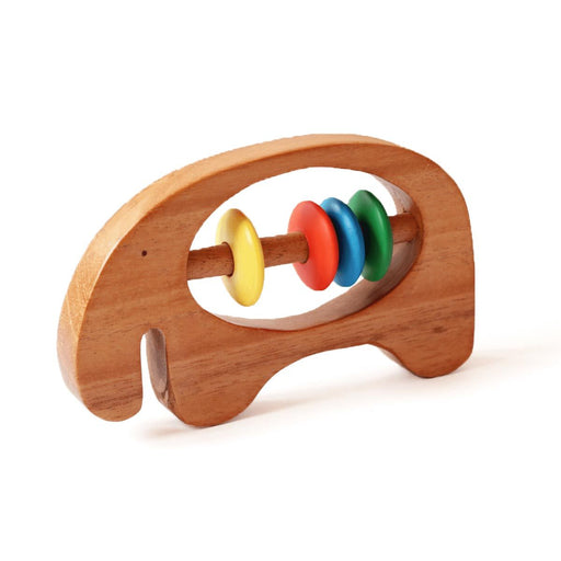 Elephant natural wood rattle for babies.