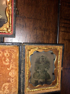 Lot of 1/9 Plate Tintypes Ambrotypes, Includes Union Case
