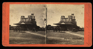 1870s Stereoview Saratoga Springs Train Station New York