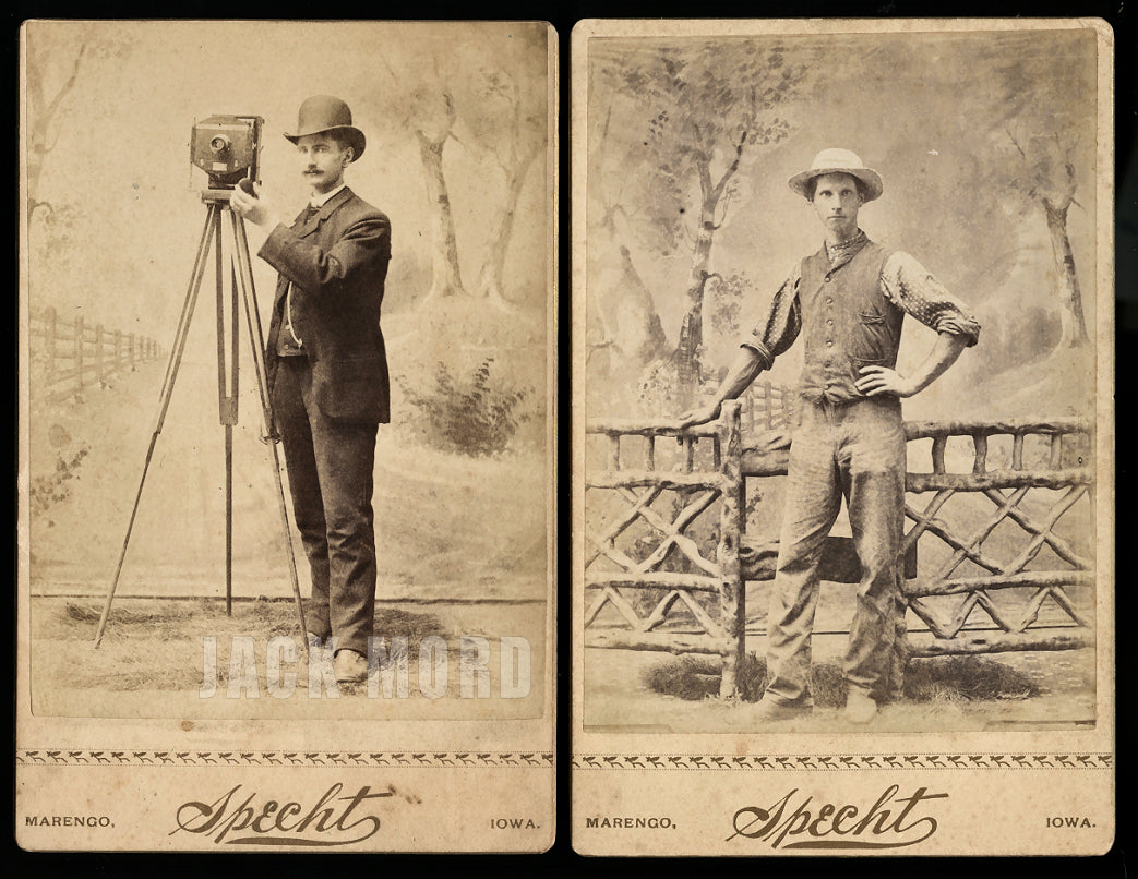 Iowa Photographer Jacob Specht w Camera & Studio Assistant? 1880 Antique Photos