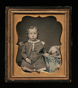 1/6 1850s Daguerreotype Little Boy with Long Hair & Big Hat, Tinted