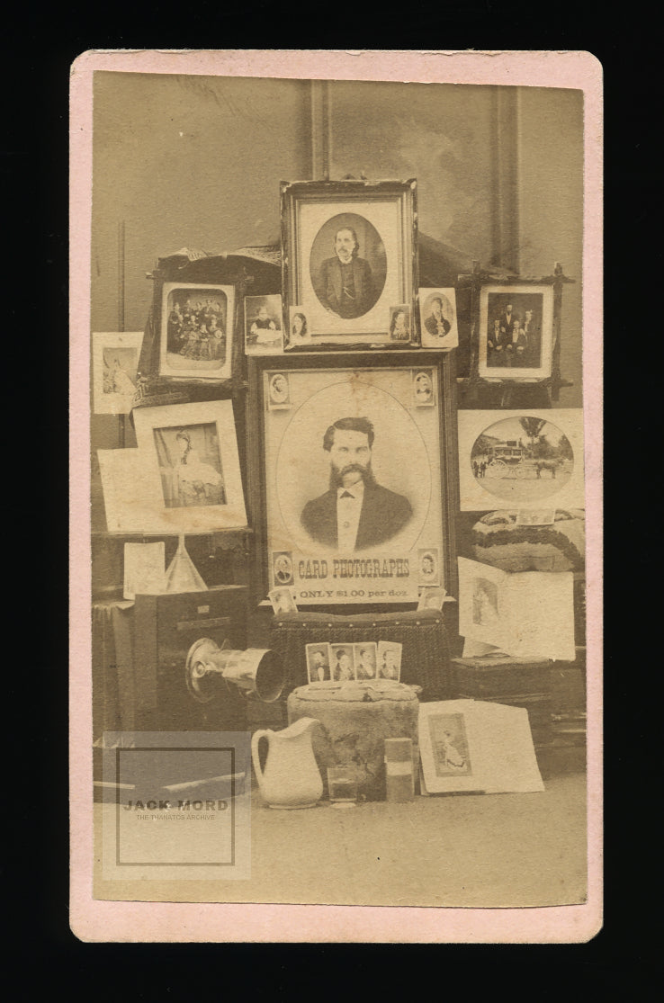 Rare Advertising CDV of Illinois Photographer Including Camera