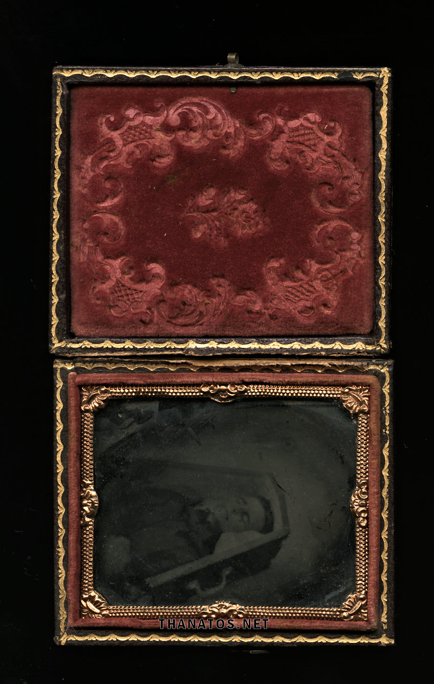 Post Mortem Tintype Woman in Coffin