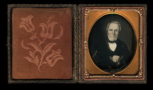 1/6 Daguerreotype of Painted Portrait Painting of a Man with CRUTCHES