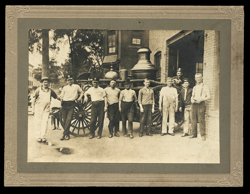 Antique Photo Firemen Posing with Great Horse Drawn Steam Fire Engine Pumper