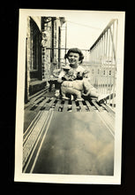 Load image into Gallery viewer, fire escape girl with toys black doll elephant & bird in cage! vintage snapshot photo