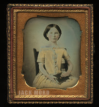 Load image into Gallery viewer, 1/6 Daguerreotype Pretty Girl Painted Gold Jewelry Tinted Yellow Dress! Old Seal