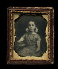 Load image into Gallery viewer, 9th Plate Daguerreotype Little Girl w Ribbons in her Hair & Lace Gloves