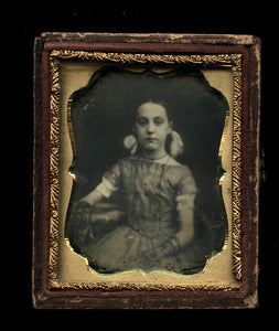 9th Plate Daguerreotype Little Girl w Ribbons in her Hair & Lace Gloves