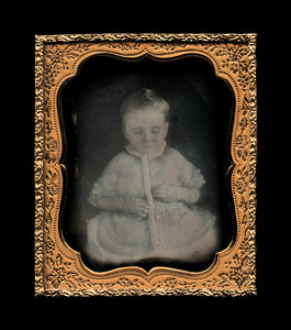 1/6 Daguerreotype Ghostly Boy in Tinted Blue Tunic / 1850s Post Mortem Photo
