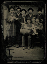 Load image into Gallery viewer, amazing tintype whiskey drinking cigar smoking men in wagon studio elephant toy!