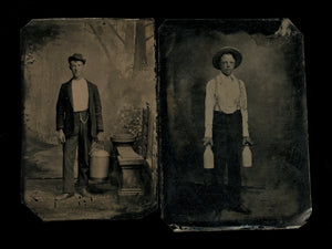 occupational lot - two antique tintype photos dairymen / milkmen