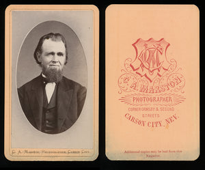 1870s CDV Photo Carson City Nevada Pioneer by Photographer C.A. Marston