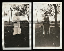 Load image into Gallery viewer, TWO Vintage Snapshot Photos Woman in Creepy DOUBLE-SIDED Halloween Costume!