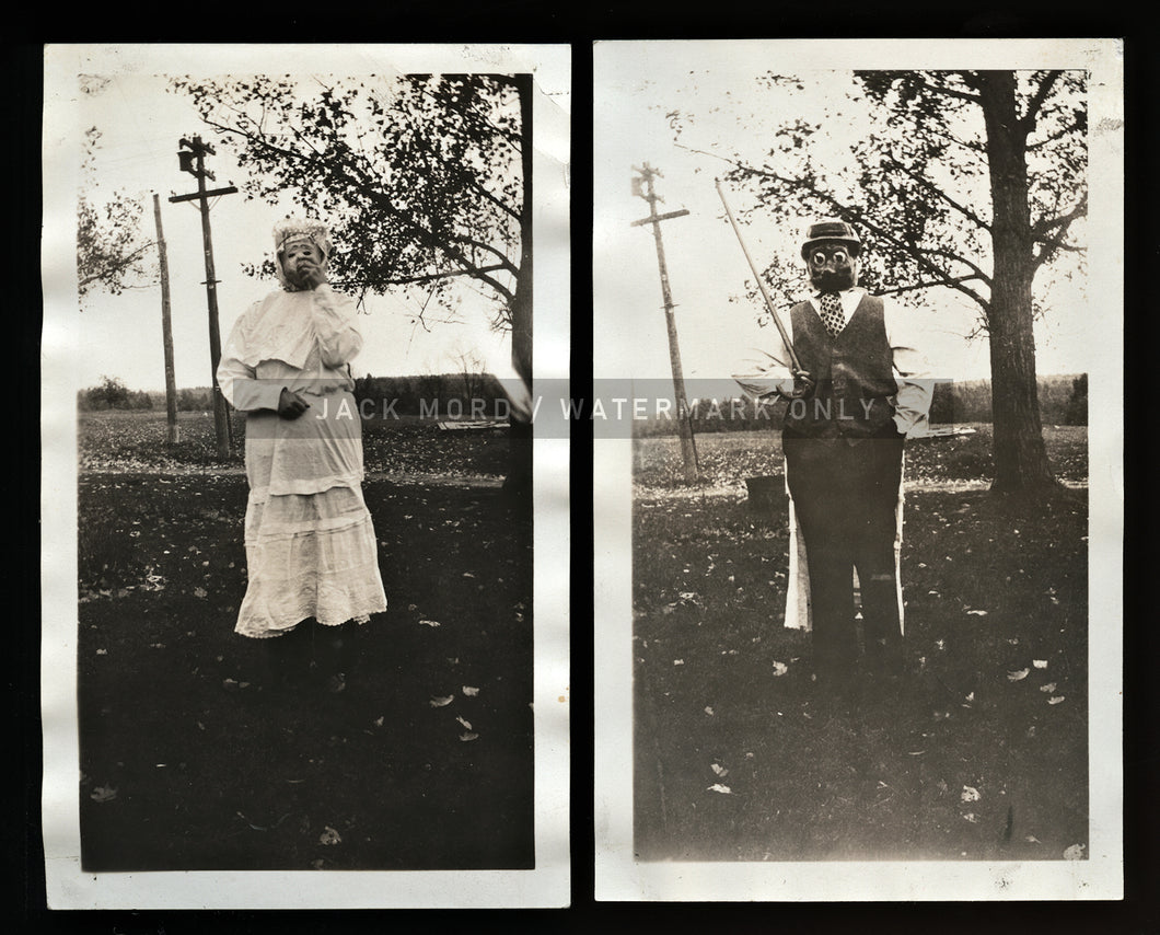 TWO Vintage Snapshot Photos Woman in Creepy DOUBLE-SIDED Halloween Costume!