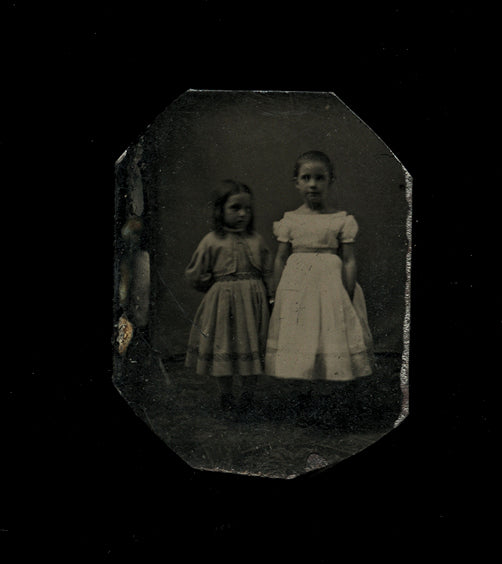 Miniature Tintype Photo Little Girls Holding Hands Full Body Standing Portraits!