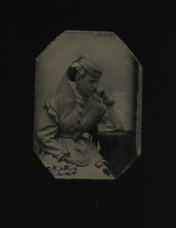 Miniature Tintype Photo Moody Girl Wearing Hat and Lace Veil 1860s Massachusetts