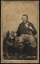 Load image into Gallery viewer, 1860s CDV Man & His Motion Blurred / Face Doubled DOG Smoking Cigar!