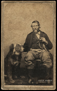 1860s CDV Man & His Motion Blurred / Face Doubled DOG Smoking Cigar!