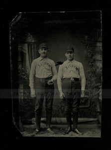 1800s tintype photo chicago baseball players in MYRTLE uniforms - identified