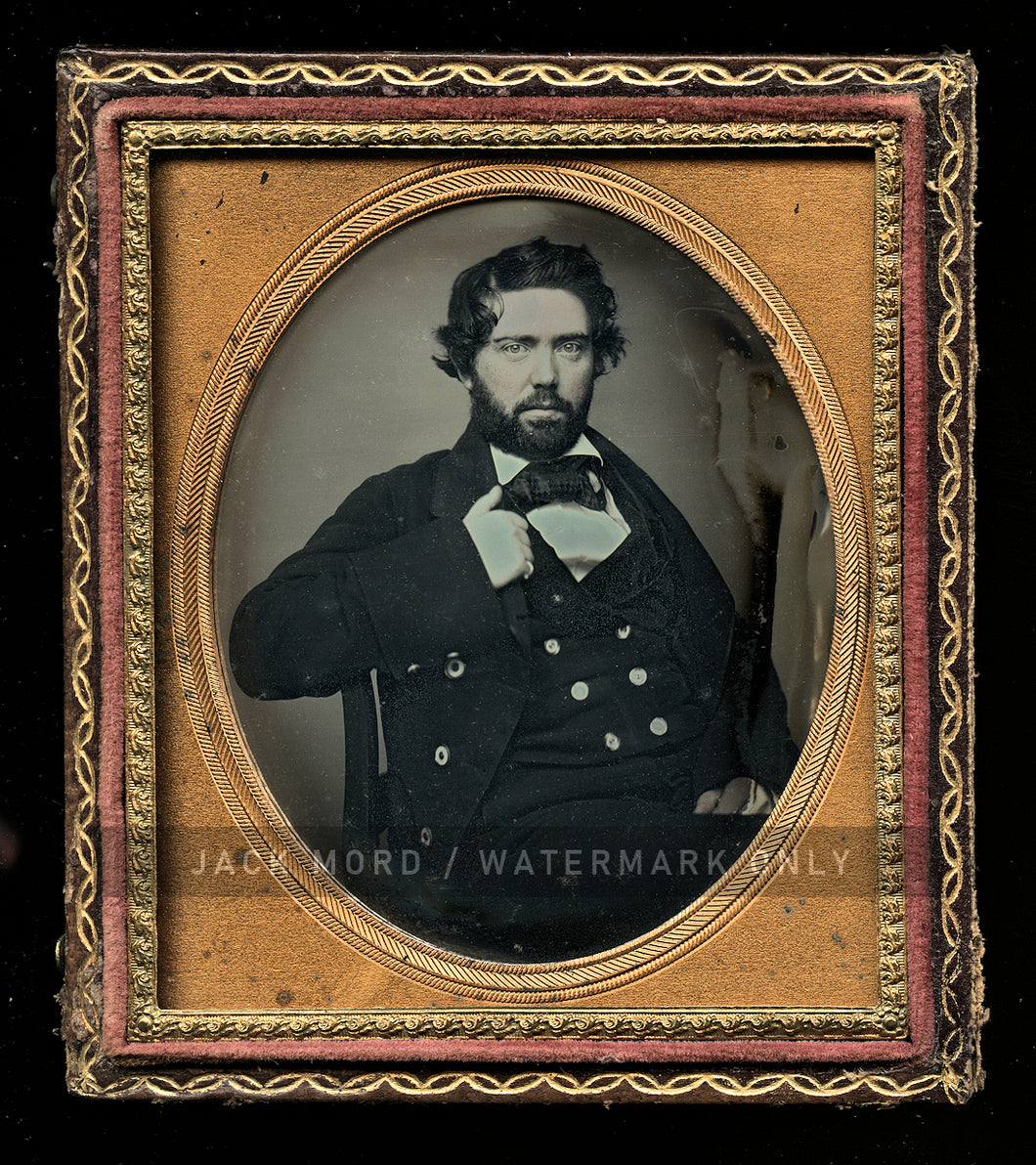 Sea Captain (?) Handsome Bearded Man 1/6 Daguerreotype Probably Portland Maine