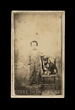 Load image into Gallery viewer, 1860s CDV Cute Little Boy & Pet Dog on Leash / Indiana